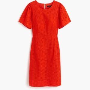 NWT J Crew Orange Eyelet Dress 12